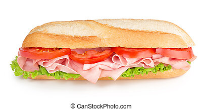 sub with ham, tomato and lettuce