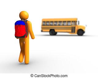 suba, a, autocarro escolar
