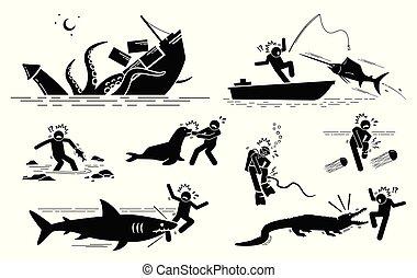 subacqueo, animali, mare, icone, segni, simboli, attacco, umano, cliparts., creature