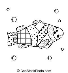 subacqueo, circa, coloritura, adulti, elements., abitanti, fish, zenart, addestramento, cartone animato, acqua, bubbles., libro, sea., non complicato, bambini, scheda, dweller.