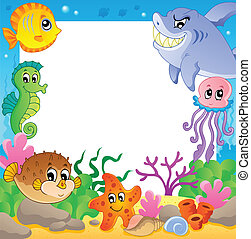 subacqueo, cornice, 2, animali