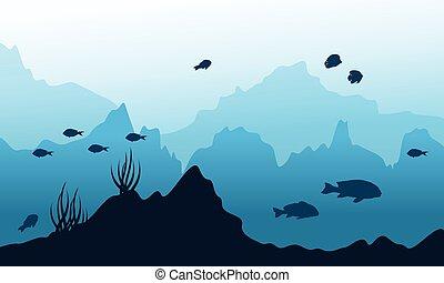 subacqueo, fish, silhouette