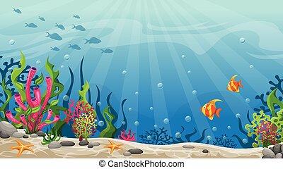 subacqueo, illustrazione, paesaggio