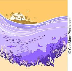 subacqueo, mare, fondo, con, isola tropicale, horizone
