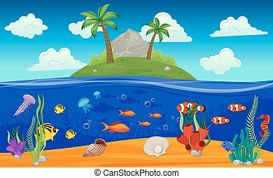 subacqueo, mondo, isola, composizione
