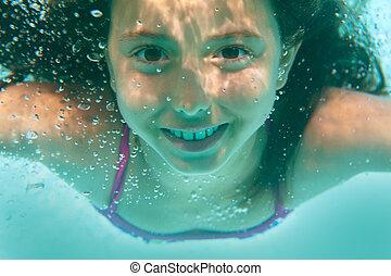 subacqueo, ragazza, stagno, nuoto