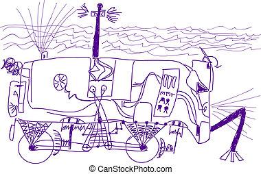 subacqueo, sette, vecchio, boy., schizzo, robot, automobile...