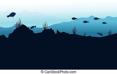 subacqueo, silhouette, vettore, arte, fondo