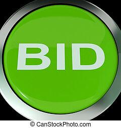 subasta, oferta, botón, orden, en línea, o, exposiciones