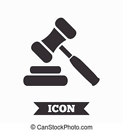 subasta, símbolo., juez, martillo, icon., ley, martillo