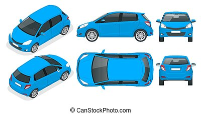 Subcompact blue hatchback car. Compact Hybrid Vehicle. Eco-...