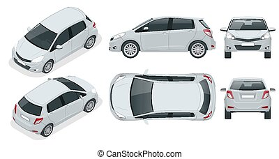 Subcompact hatchback car. Compact Hybrid Vehicle. Eco-...