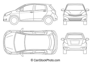 Subcompact hatchback car in outline. Compact Hybrid Vehicle...