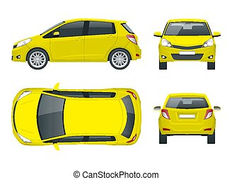 Subcompact yellow hatchback car. Compact Hybrid Vehicle. Eco...