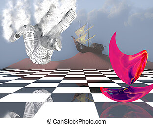 Subconscious Dreams - Surreal composition. Pink matter on...
