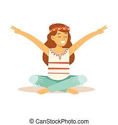 subcultura, hippie, ella, sentado, vestido, actuación, paz, ...