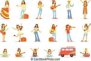 subculture, classique, habillé, voyager, spirituel, woodstock, hippies, années soixante, pratiques, collection musique, hippy, jouer, vêtements