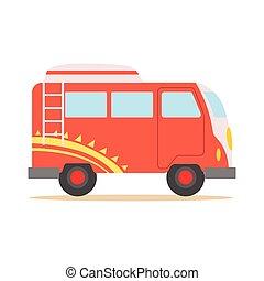 subculture, classique, modèle, symbole, minivan, woodstock, années soixante, rouges, hippy, transport, frais