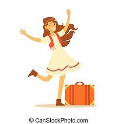 subculture, hippie, classique, habillé, valise, vêtements, gilet, woodstock, années soixante, voyager, hippy, robe