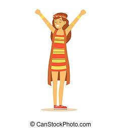 subculture, hippie, coloré, classique, habillé, vêtements, gilet, woodstock, années soixante, long, hippy, girl, robe