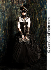 subculture - Portrait of a beautiful steampunk woman over ...