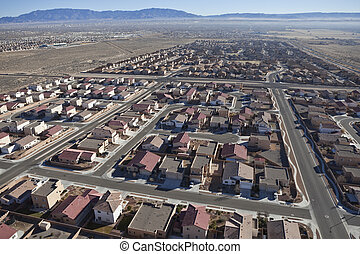 subdivisão, suburbano, aéreo, deserto