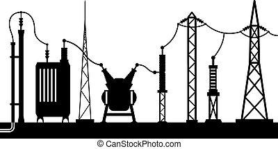 subestación, eléctrico, escena