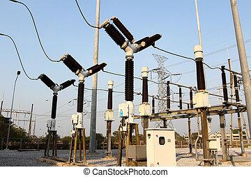subestación, equipo, eléctrico, de alto voltaje