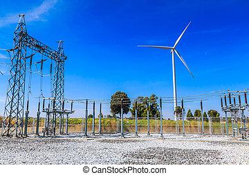subestación, estación, poder eléctrico
