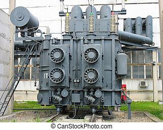 subestación, inmenso, transformador, industrial, potencia, ...