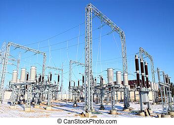 subestación, interruptor, de alto voltaje, desconectar