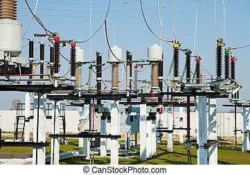 subestación, interruptores, parte, de alto voltaje, disconnectors