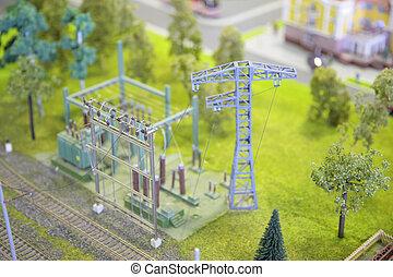 subestación, modelo, eléctrico