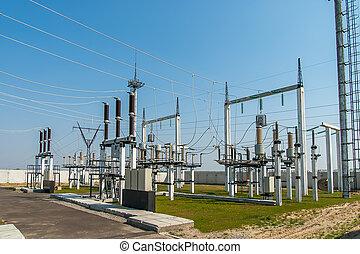subestación, parte, de alto voltaje