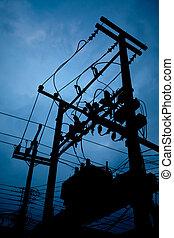 subestación, transformador, silueta, eléctrico