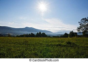 subida del sol, en, montaña
