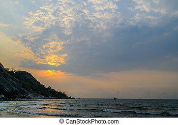 subida del sol, tiempo, en, hua-hin, playa, en, tailandia