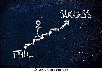subida, individuo, éxito