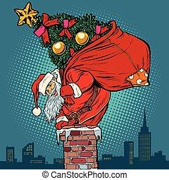 subidas, claus, árvore, saco, santa, natal, chaminé