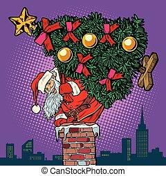 subidas, claus, árvore, santa, natal, chaminé