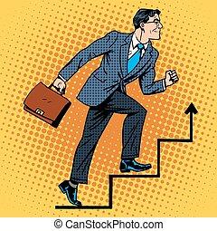 subidas, escalera carrera, arriba, hombre de negocios
