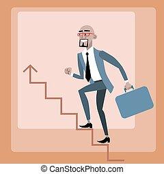 subidas, escalera carrera, hombre de negocios, africano