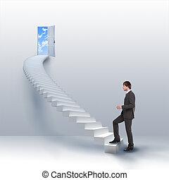 subidas, escalera, joven, éxito, hombre