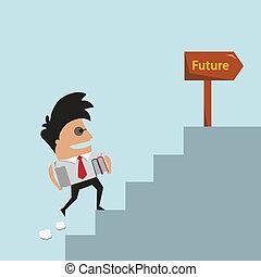 subidas, hombre de negocios, escalera, vector, éxito