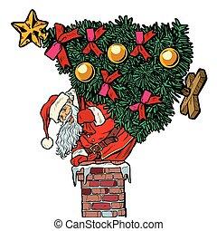 subidas, isole, claus, árvore, chimney., santa, natal