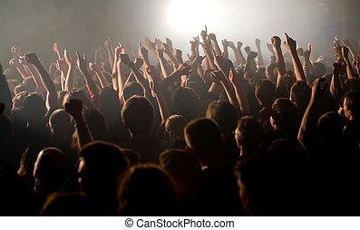 subidas, multitud, manos