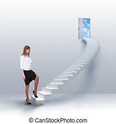 subidas, niña, escalera, joven, éxito