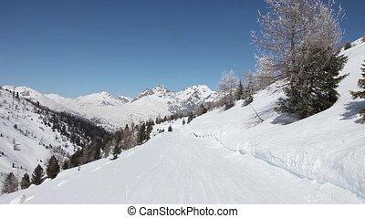 subjective, pente, métrage, ski