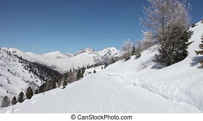 Subjective ski slope footage in snow-covered winter forest. ...