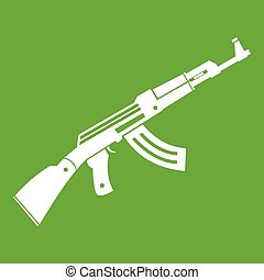 submachine, 緑, 銃, アイコン